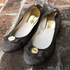 Michael Kors black and brown ballet flats sz 7 1/2